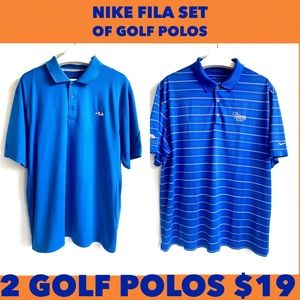 Nike Fila set of blue Golf Polos GUC  men's XL
